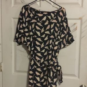 Tops - Flowy Bird Print Tunic Shirt